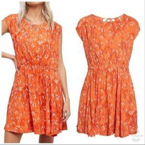 Free People Fake Love orange printed mini dress M